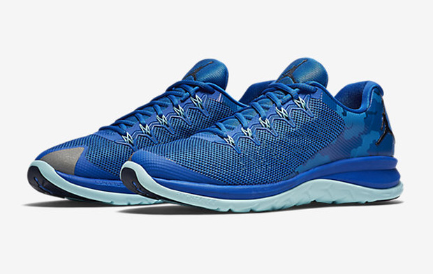 b04a64460cd485 Jordan s Flight Runner 2 takes blue to new levels with the Soar Copa Midnight  Navy colorway. This layered look drops deep blue across the fuse mesh upper  ...