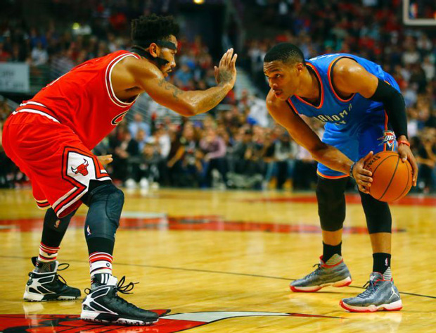 """477fe90945a5 ... between the Oklahoma City Thunder and Chicago Bulls provided the ideal  stage for Russell Westbrook and Jimmy Butler to don the Air Jordan XX9  """"Vetera."""