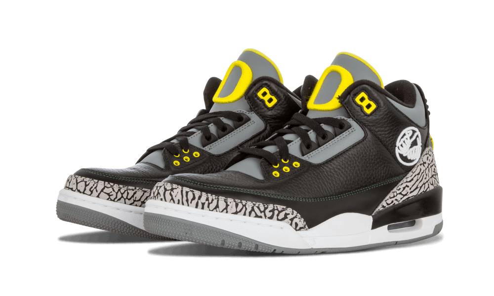 """wholesale dealer b6863 b0232 Unquestionably, one of the most-sought PEs ever is the Air Jordan 3 """"Oregon  Ducks"""" edition. This OU exclusive combines the classic """"Black Cement"""" look  with ..."""