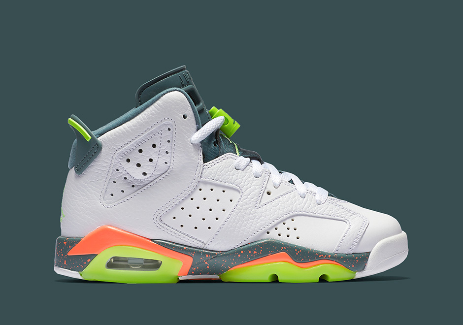 6b0e74d550c8 Kids Jordan Retro 6 White Ghost Green