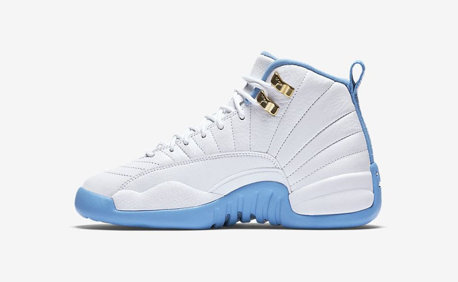 "ccb013c6b18 ... Air Jordan 12 GG ""Melo"" Color: White/Metallic Gold-University Blue ..."