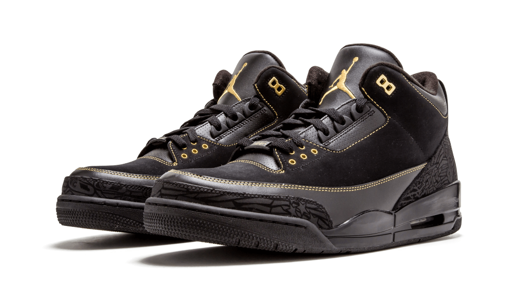 For Black History Month 2011, Jordan Brand dished out Air Jordan 3 in a  special edition colorway. Black nubuck and leather, gold contrast  stitching, ...