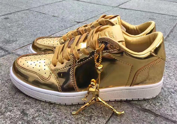 c7a7d07837a4 Another gilded Air Jordan on the way  Photos popping up now of a Swooshless  gold Air Jordan 1 Low pretty much point to yes. Jordan Brand introduced the  ...