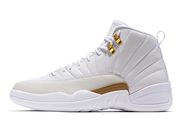 "22a03b31289 Great news for fans of Air Jordan 12 ""OVO"" – restock coming up this  Saturday. The white and gold Drake-inspired sneaker is set to resurface  online at ..."
