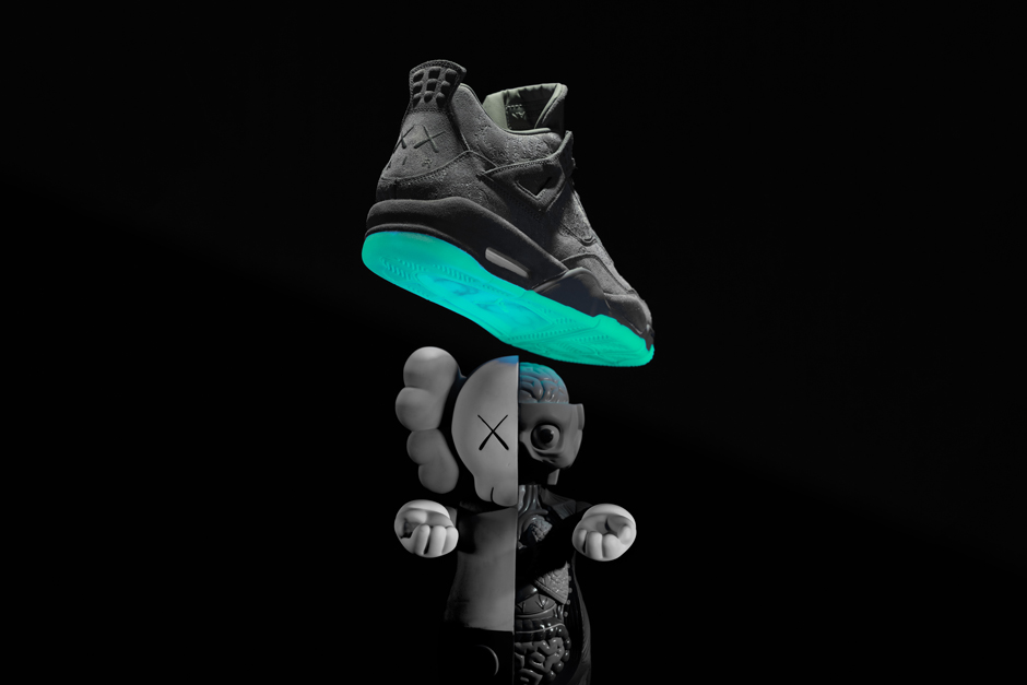Kaws X Air Jordan 4 And Its Green Glow Sole Arrive This