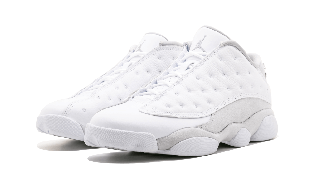 "8c1b36bd1 No wait for the Saturday morning cyber rush to pick up the Air Jordan 13  Low ""Pure Platinum."" Stadium Goods has the new lifestyle look available in  a full ..."