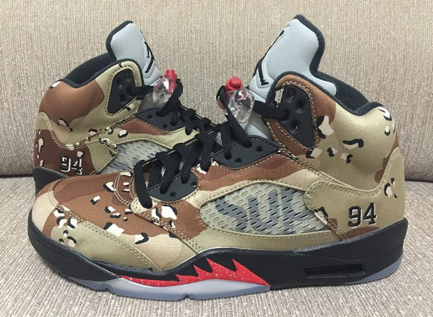 The First Model Of Supreme X Air Jordan 5 Series To Be Unofficially Unveiled Desert Camo Naturally Made Impression For Fans Looking